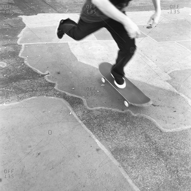 Low section of a skateboarder