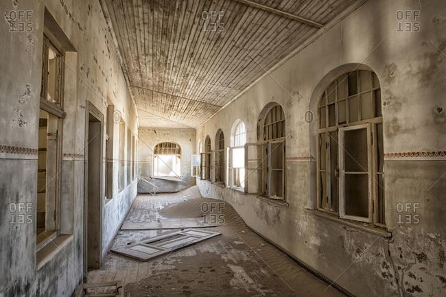 Abandoned school corridor in Kolmanskop