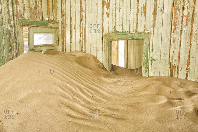 Sand filled room in Kolmanskop