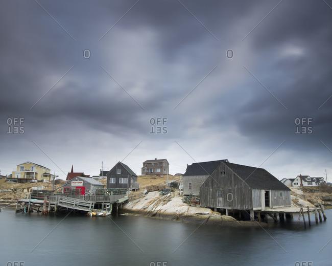 Buildings on the shore in Peggys Cove, Nova Scotia, Canada