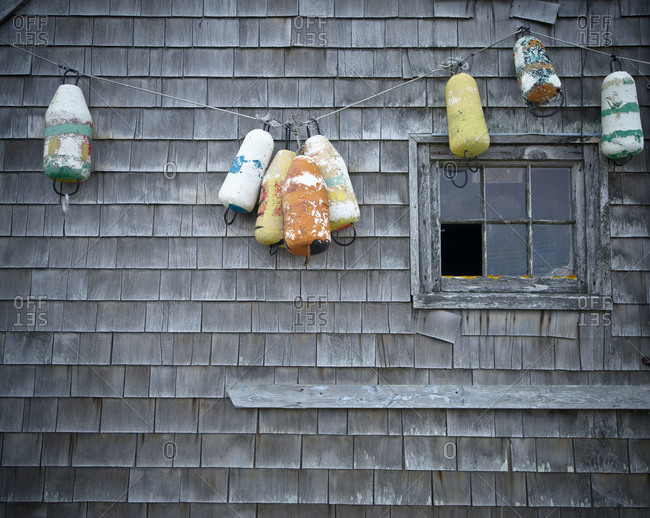 Colorful fishing buoys in Peggys Cove, Nova Scotia, Canada