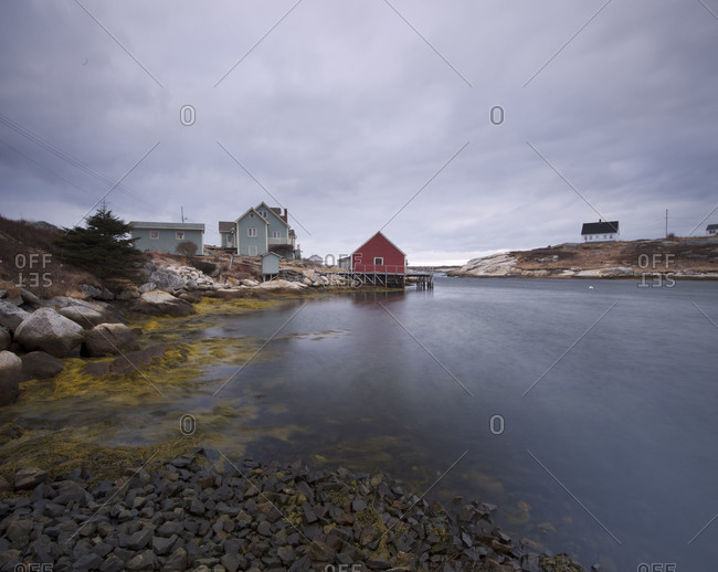 Buildings on the shore in Peggys Cove, Nova Scotia, Canada