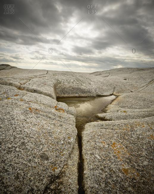 Granite rock formations in Peggys Cove, Nova Scotia, Canada