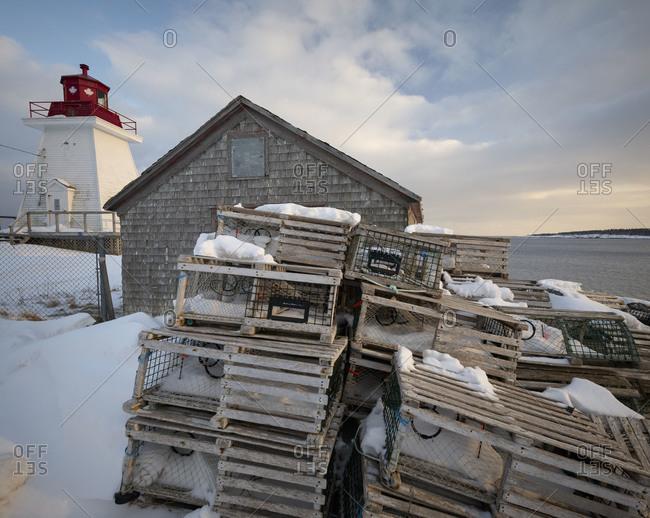 Cabin with fish catching traps on Cape Breton Island, Nova Scotia, Canada