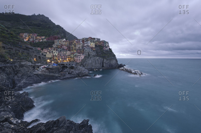 View of Manarola, in Liguria, Italy