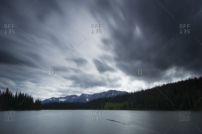 Cloudy waterscape in Yukon Territory, Canada
