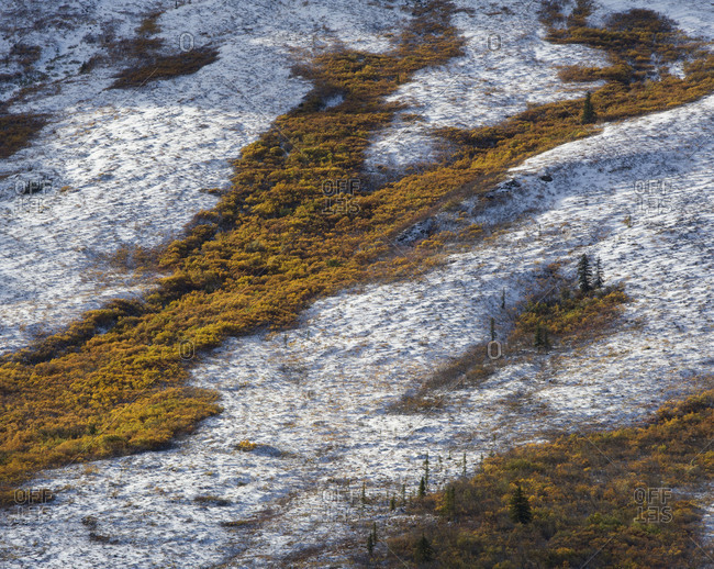 Aerial view of Tombstone Territorial Park in Yukon Territory, Canada