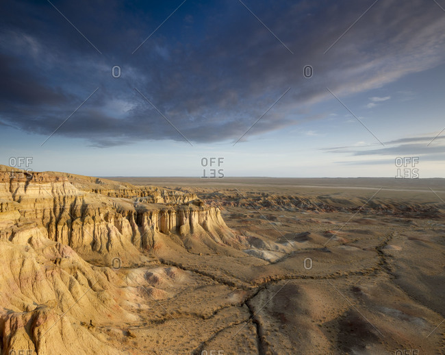 Magnetic view of White Stupa Cliffs in Mongolia