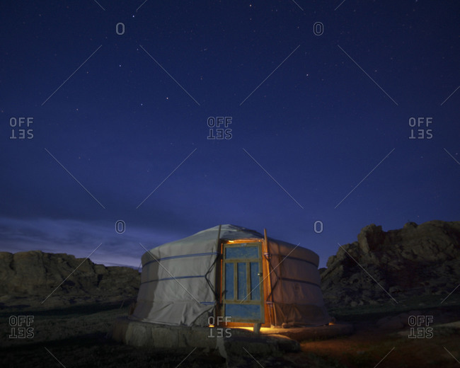 Nomad yurt at night  in White Stupa Cliffs, Mongolia