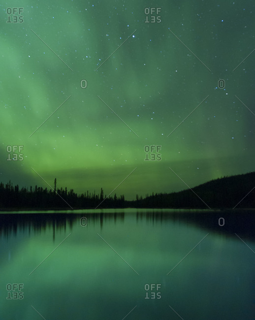 Beautiful Northern Lights above Ethel Lake in Yukon Territory, Canada