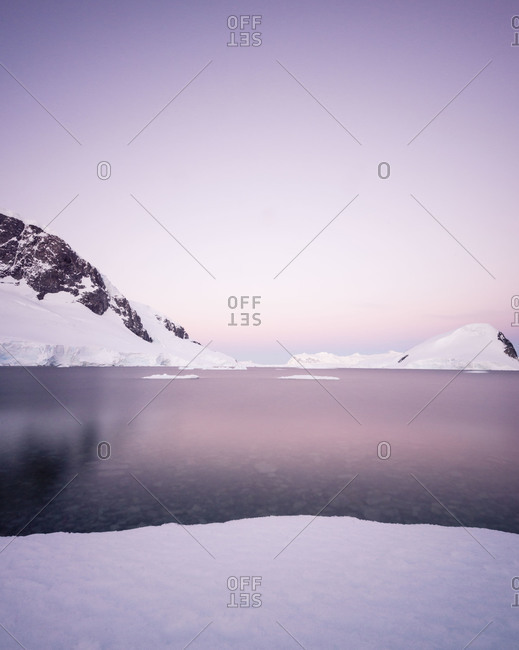 Pink view with icebergs in Antarctica