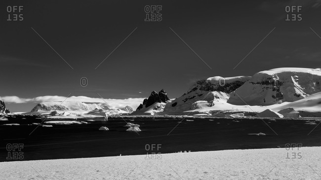 Black and white landscape in Antarctica