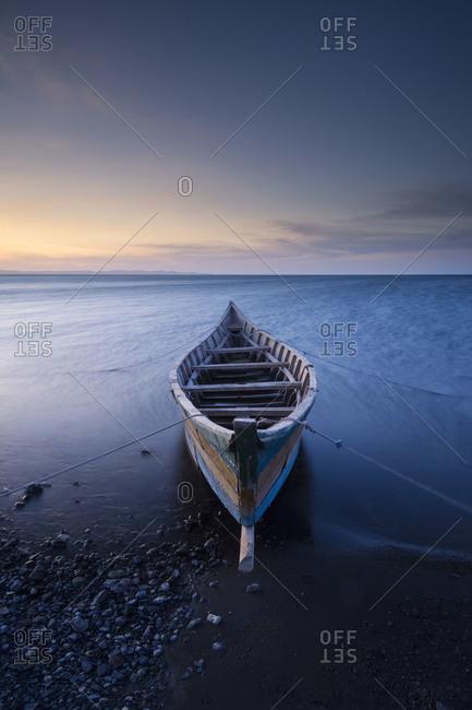 Abandoned fishing boat by Lake Turkana in Kenya, Africa.