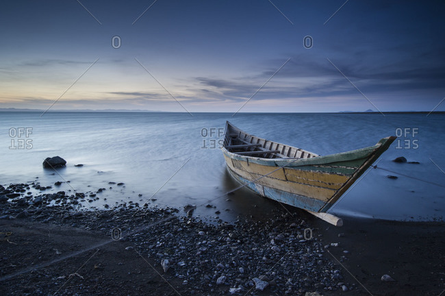Abandoned fishing boat by Lake Turkana in Kenya, Africa.