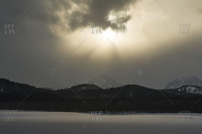 Tranquil landscape at winter in Hokkaido, Japan.