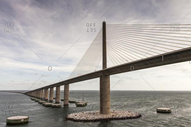 A bridge spans over water
