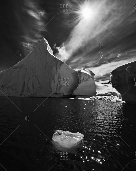 Picturesque scene with floating iceberg in Antarctica