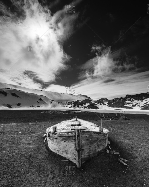 Old abandoned boat in Antarctica