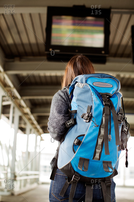 Back view of woman checking the transport schedule