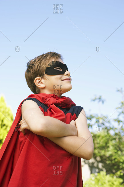 Portrait of boy wearing super hero costume