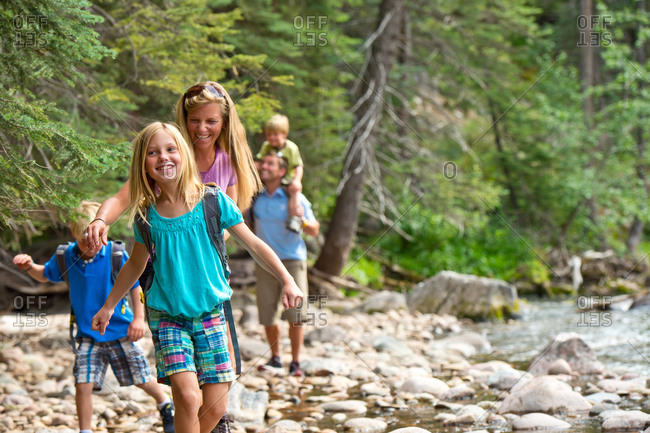 A family hike in the summer.