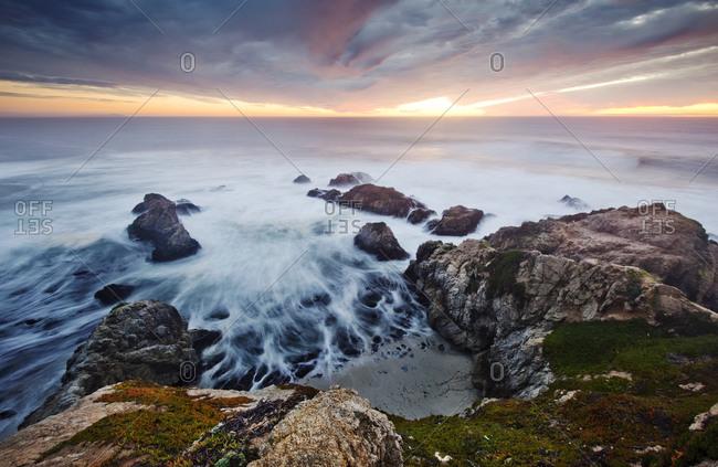 A magnificent sunset at the Bodega Head overlook on the Sonoma Coast near Bodega Bay, CA.