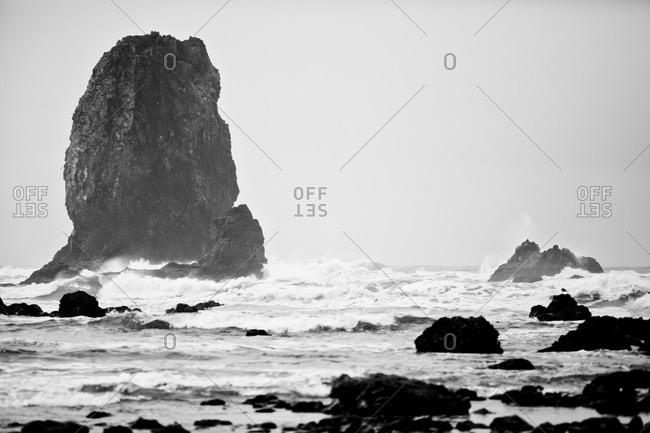 A Monolith rock along the coast.