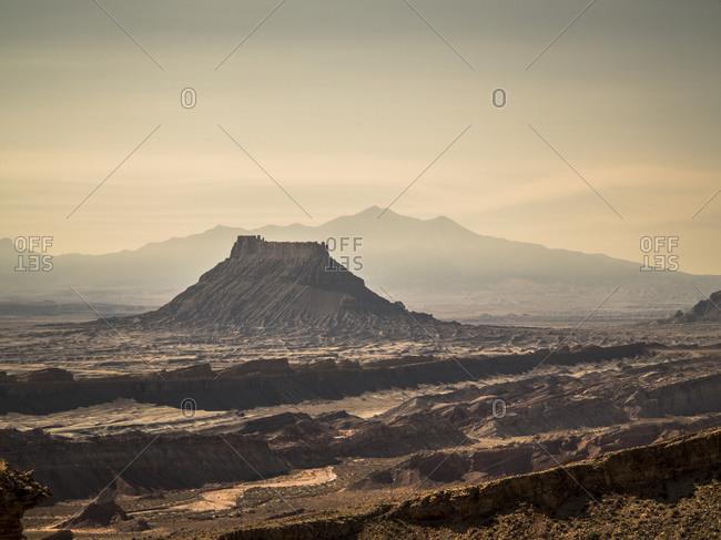 A stark desert landscape.