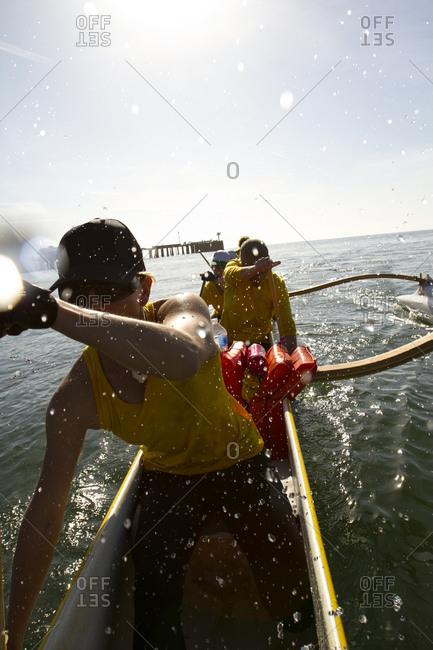 The women's Santa Barbara Outrigger Team practices off the coast of Santa Barbara, California.
