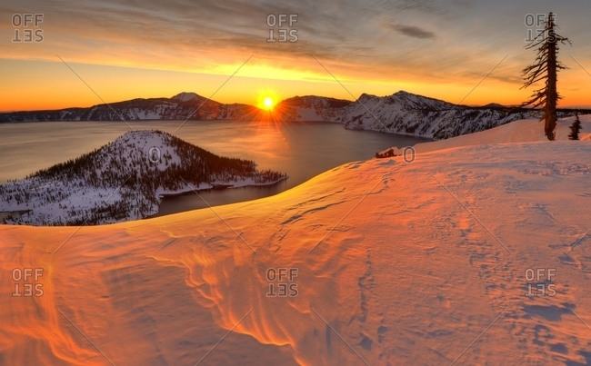 Winter sunrise and Wizard Island, Crater Lake National Park, Oregon