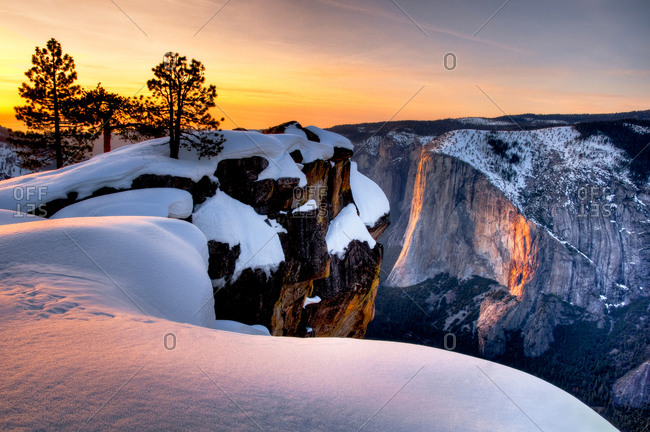 Winter Sunset on Horse Tail Falls from Taft Point, Yosemite National Park, California