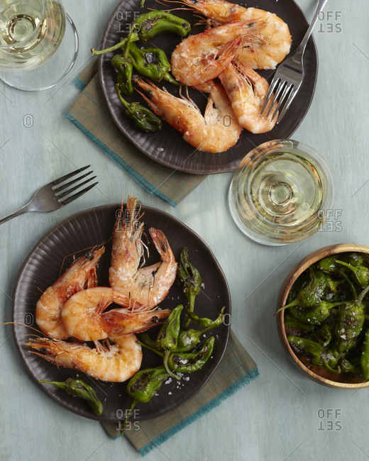 Gambas a la Placha: Grilled Shrimp Tapas served with grilled green chili pepper.