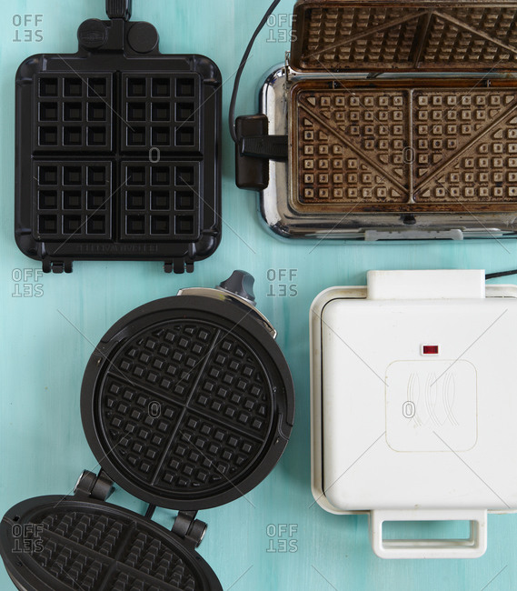 Top view of different type of waffle irons