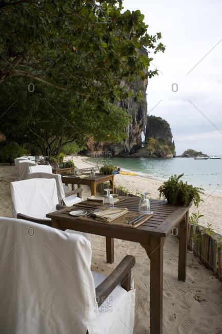 Restaurant The Grotto on Phranang Beach, Thailand
