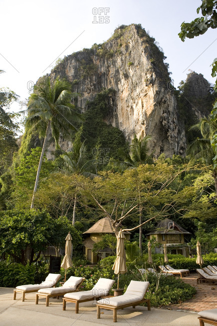 Luxury five-star resort with surrounding limestone cliff