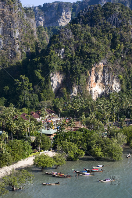 Tranquil landscape with surrounding limestone cliffs on southern Thailand�s Andaman coast