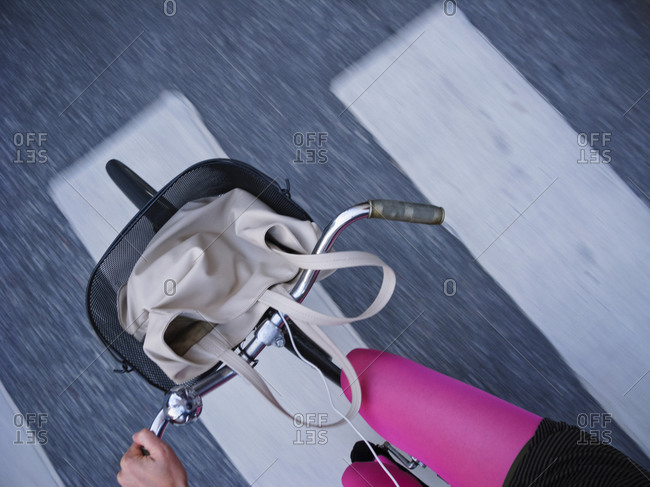 Personal perspective of woman cycling