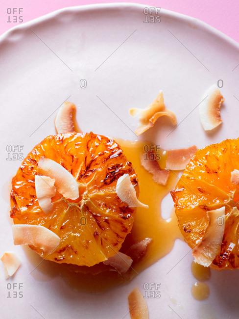 Prepared orange dessert on plate