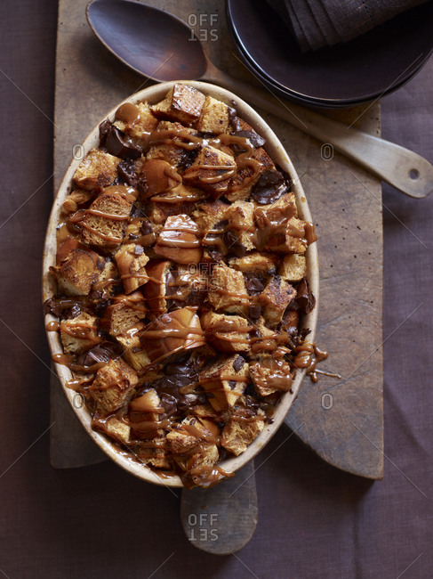 Top view of bread pudding on cutting board