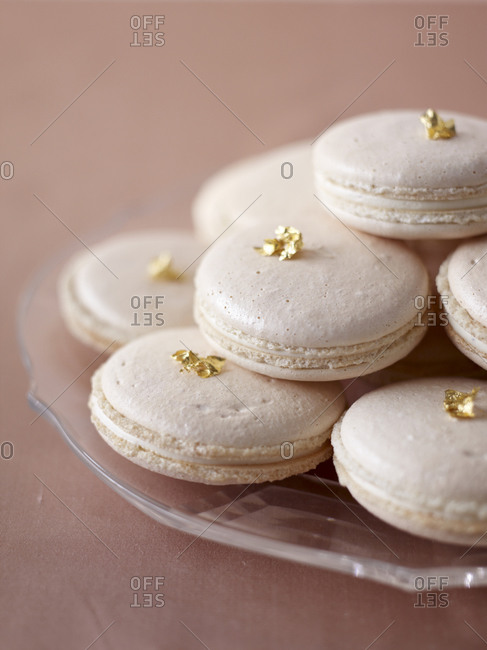 Close-up of macarons on a glass plate
