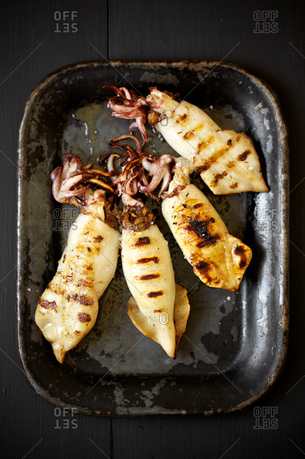 Grilled squids on baking dish.