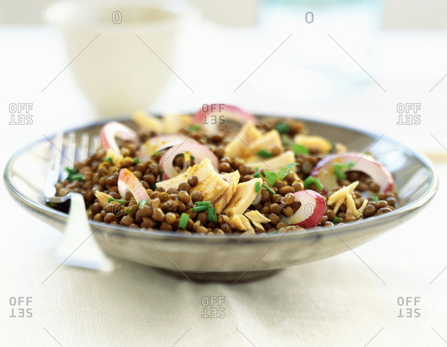 Bowl of spiced lentils with red onion and tuna