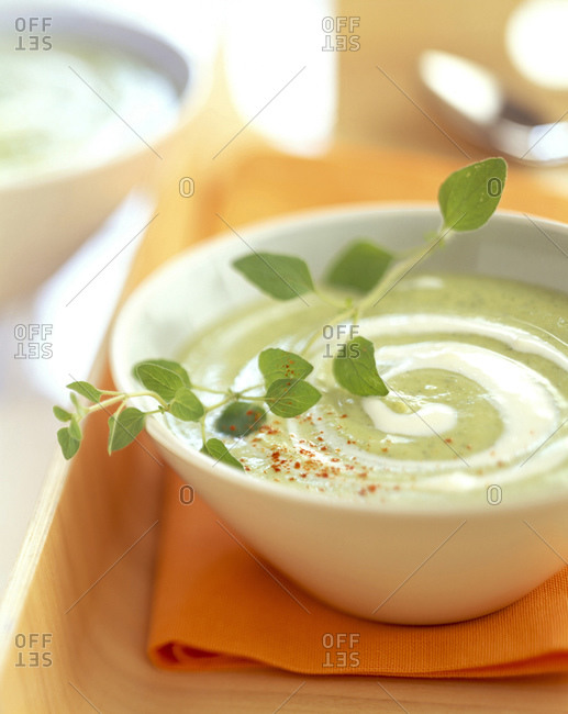 Creamed zucchini and  savory soup with garnish