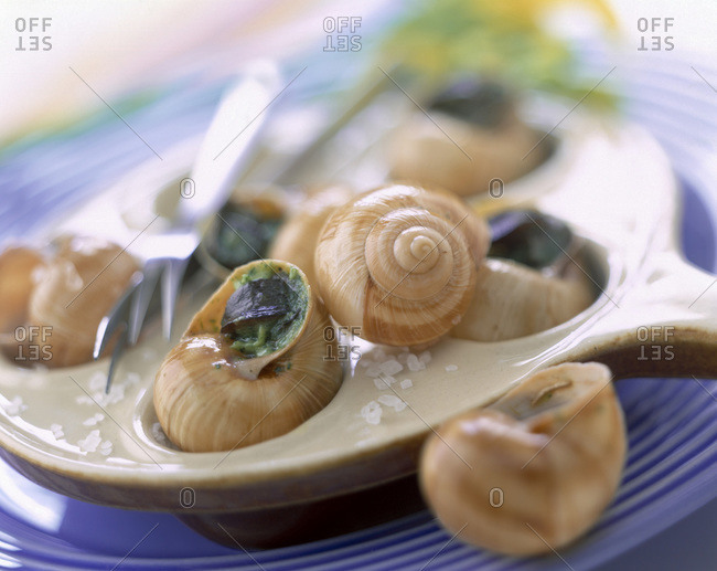 Dish of snails sprinkled with parsley and sea salt