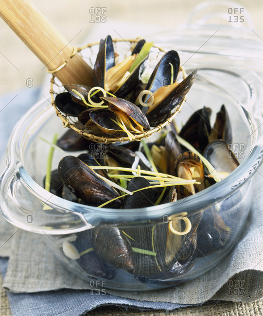 Mussels on a pot with colander spoon