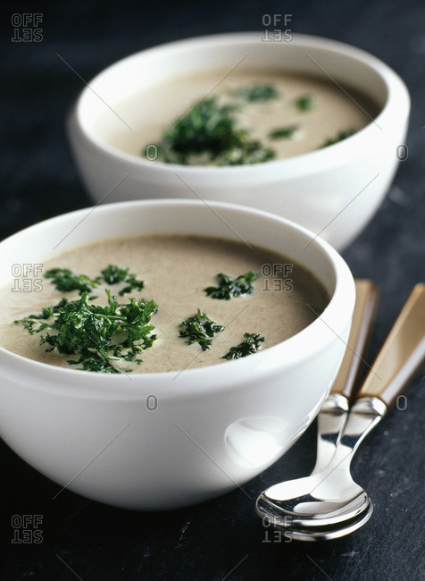 Creamed mushroom and parsley soup in bowls with spoons