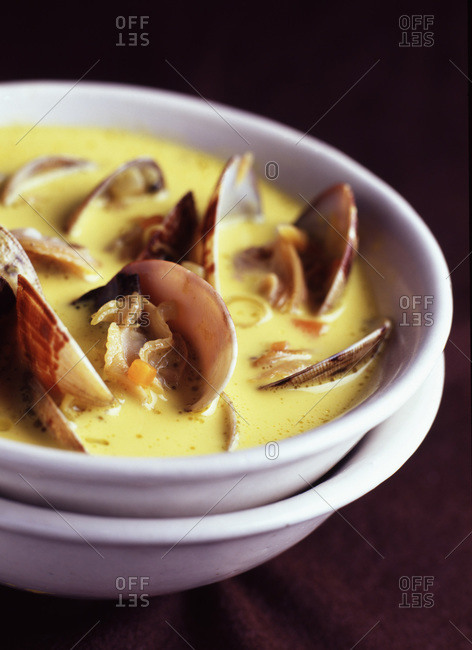 Close up of Clam and coconut milk soup