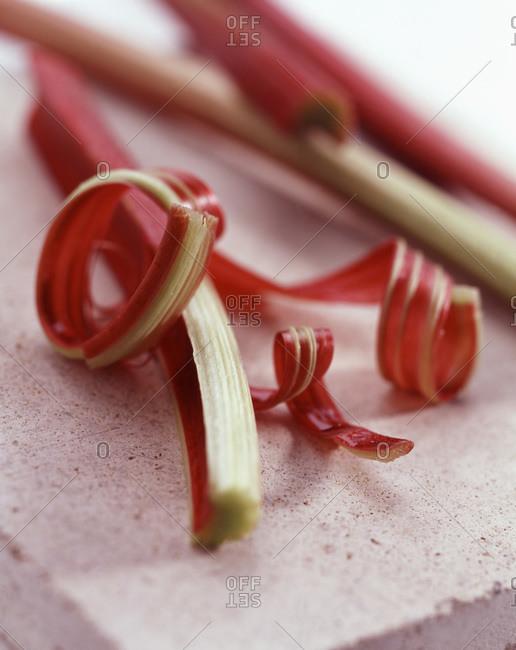 Peeled Fresh rhubarb