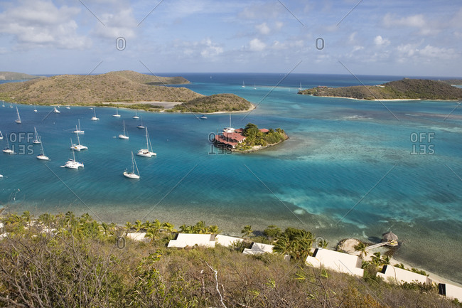 View of tranquil yachting location in the Caribbean