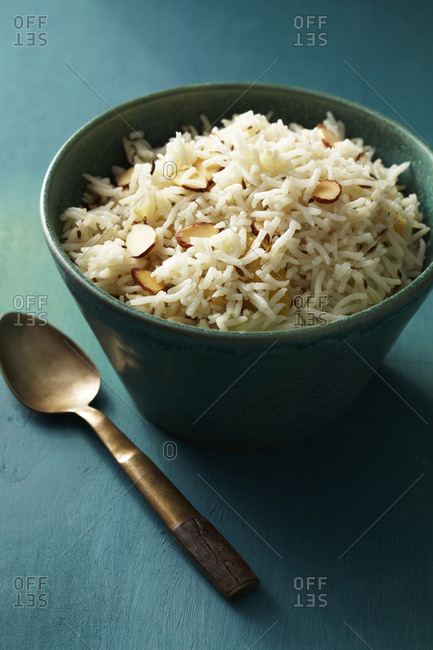 Bowl of Indian basmati rice with toasted almond